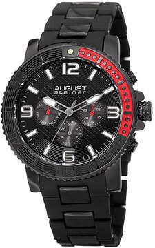 August Steiner Mens Black Strap Watch-As-8179bk
