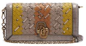 Bottega Veneta Olimpia Knot Intrecciato Leather Clutch - Womens - Grey Multi