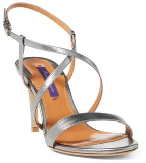 Ralph Lauren Arissa Metallic Leather Sandal Silver 36.5