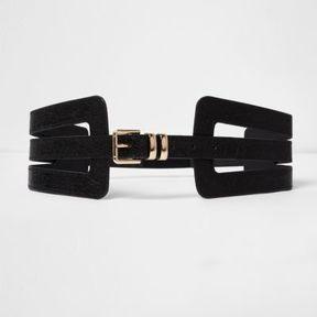 River Island Womens Black cut out wide waist belt