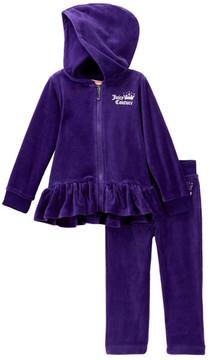 Juicy Couture Purple Ruffle Bottom Velour Hoodie & Pants Set (Baby Girls)
