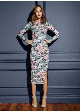 Fleur Du Mal | Printed Knit Dress With Side Snaps | L | Floral
