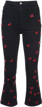 Amen beaded hearts cropped jeans