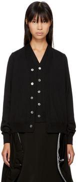 Comme des Garcons Black Wool Double Front Cardigan