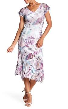 Komarov V-Neck Cap Sleeve Midi Dress