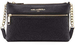 Karl Lagerfeld Paris Bouquet Rose-Embroidered Leather Crossbody Bag