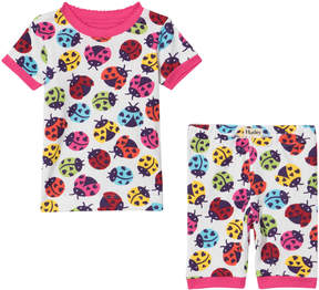 Hatley White Rainbow Ladybirds Short Pyjamas Set