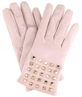Valentino Rockstud cashmere-lined leather gloves