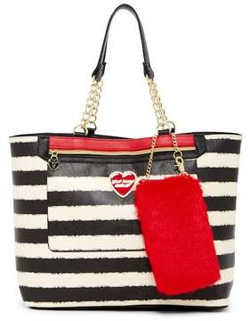 Betsey Johnson Striped Tote & Faux Fur Dangle Phone Case Set