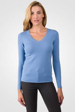 J CASHMERE Crystal Blue Cashmere V-neck Sweater