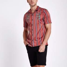 River Island Mens Red satin snake stripe revere shirt