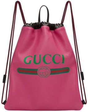 Gucci Pink Vintage Logo Drawstring Backpack