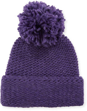 Portolano Wool Knit Beanie with Pompom