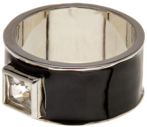 Ariella Collection Enamel Square Crystal Wide Band Ring