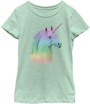 Fifth Sun Mint Rainbow Unicorn Face Tee - Girls