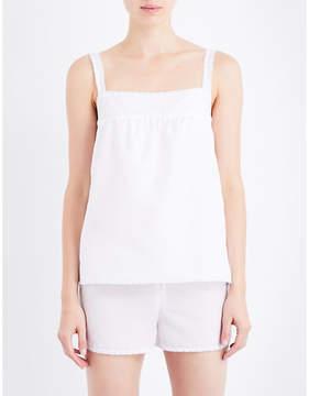 Bodas Square neck cotton and silk-blend pyjama top