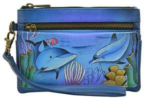 Anuschka Anna by Hand Painted Leather Wristlet Organizer Wallet |