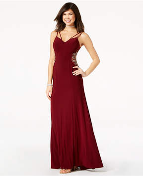 B. Darlin Juniors' Embellished-Inset Strappy Gown