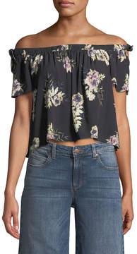 Astr Off-The-Shoulder Cropped Floral Blouse