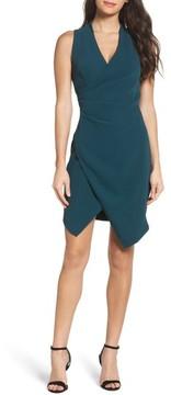 Adelyn Rae Women's Teri Faux Wrap Sheath Dress