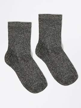 Frank and Oak Ankle Lurex Socks in Black Metal