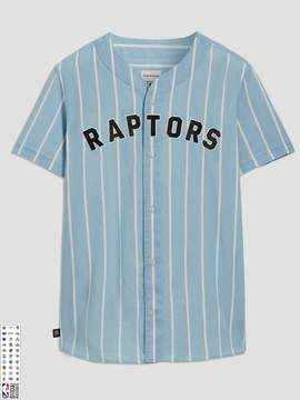 Frank and Oak Toronto Raptors Summer-Denim Short-Sleeve Shirt in Striped Indigo