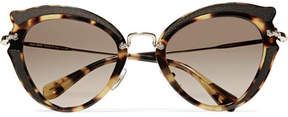 Miu Miu Cat-eye Canvas-trimmed Acetate And Gold-tone Sunglasses - Tortoiseshell