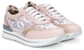 Roberto Cavalli lace panel runner sneakers