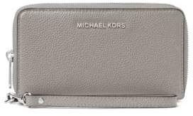 MICHAEL Michael Kors Leather Zip-Around Wristlet - PEARL GREY - STYLE
