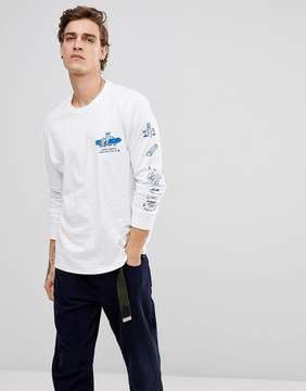 Element Wheelin Logo Long Sleeve T-Shirt In White