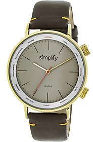 Simplify Goldtone Brown Leather Strap Watch