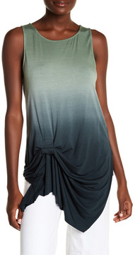 Fifteen-Twenty Fifteen Twenty Asymmetrical Side Draped Ombre Knit Tank