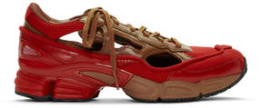 Raf Simons Red and Brown adidas Originals Limited Edition Replicant Ozweego Sneakers Anniversary Pack