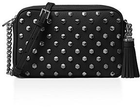 MICHAEL Michael Kors Ginny Studded Medium Leather Camera Bag - BLACK/SILVER - STYLE