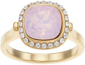 Brilliance+ Brilliance 14k Gold Plated Halo Ring with Swarovski Crystals