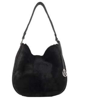 Amanda Wakeley Black Shearling Suede Mara Bag