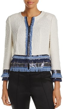 Basler Cropped Sequin Fringe Jacket