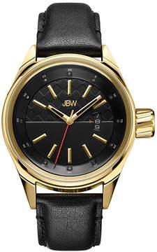 JBW Rook Mens Diamond-Accent Black Leather Strap Watch J6287D