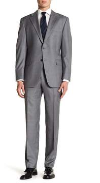 Hickey Freeman Classic Fit Light Grey Two Button Notch Lapel Wool Suit