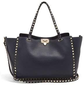 Valentino Rockstud Medium Leather Tote Bag - Womens - Navy