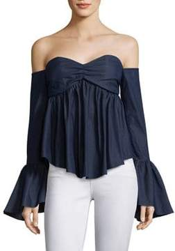 Caroline Constas Max Long Bell Sleeves Denim Top