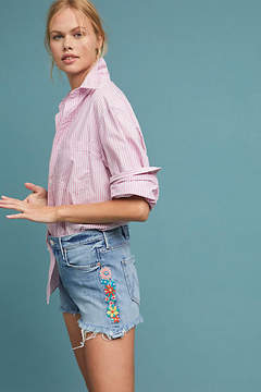 Mother The Dutchie High-Rise Embroidered Denim Shorts