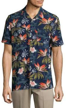 Black & Brown Black Brown Tropical Print Button-Down Shirt