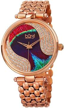 Burgi Peacock Feather Dial Ladies Rose Gold Tone Watch