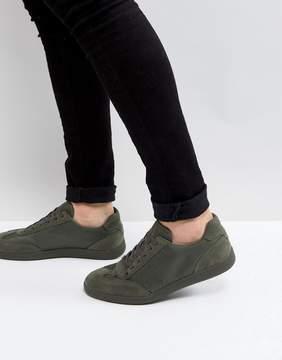 Asos Retro Sneakers In Khaki With Nylon
