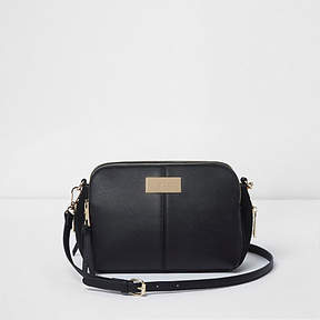 River Island Black triple compartment cross body bag