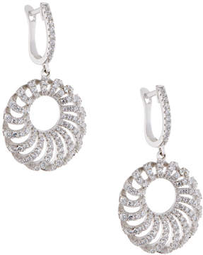 FANTASIA Round Puff Pave Crystal Drop Earrings