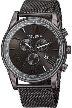 Akribos XXIV Omni Mens Gray Stainless Steel Mesh Watch