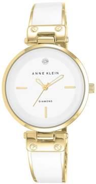 Anne Klein Goldtone Diamond-Accented White Dial Bracelet Watch