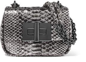 Tom Ford Natalia Mini Metallic Python Shoulder Bag - Silver